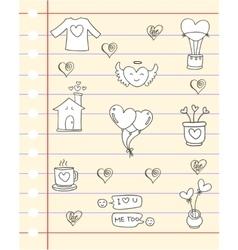 Hand draw love of doodle paper vector