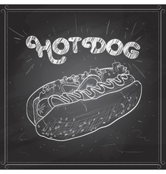 Hot dog scetch on a black board vector