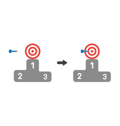 Icon concept of bulls eye with dart in the center vector