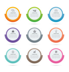 Infographics circle paper index with 9 data vector