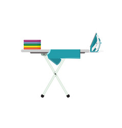 ironing board with clothes and iron vector image