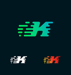 letter k modern speed shapes logo design vector image