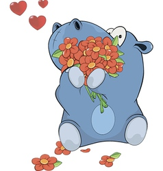 Little hippopotamus and flowers vector image