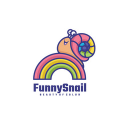 logo funny snail simple mascot style vector image