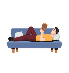 Man reading book on couch hobor leisure guy vector
