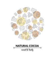 natural cocoa banner template with chocolate vector image