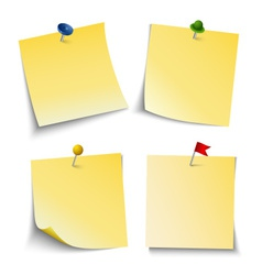 Note paper with push colored pins template vector image