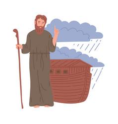 Old testament bible story noah and his ark flat vector