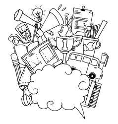 On white backgrounds school doodle art vector image