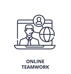 online teamwork concept line icon concept online vector image