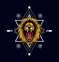 orange lion scared geometry vector image