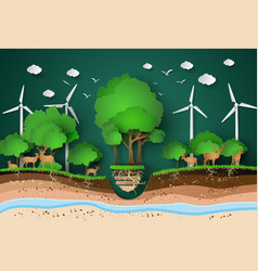 paper cut of eco with animal vector image