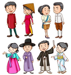 People showing the Asian culture vector