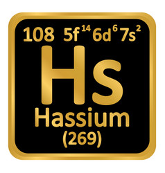 Periodic table element hassium icon vector