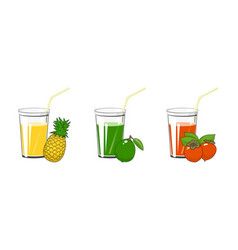 Pineapple lime and persimmon juices vector