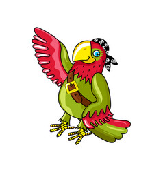 pirate parrot in bandana icon vector image