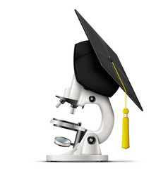 Realistic graduation cap on the microscope vector
