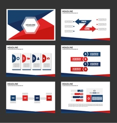 Red Blue presentation templates set vector
