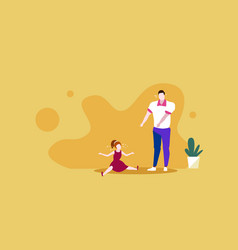 Sad father crying with little daughter parenthood vector