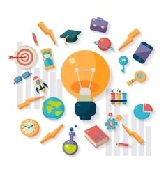 Science icons around big idea bulb vector