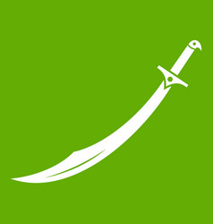 scimitar sword icon green vector image