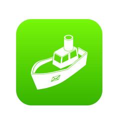 sea ship delivery icon green vector image