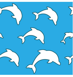 seamless pattern - simple white jumping dolphins vector image