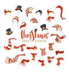 Set of santa hats and scarves vector