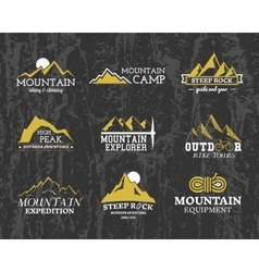 Set of summer winter mountain explorer camp badge vector
