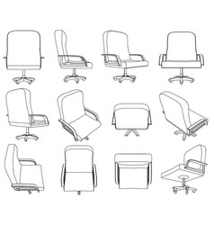 set with contours of office chairs office chair vector image