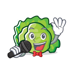 Singing lettuce character cartoon style vector