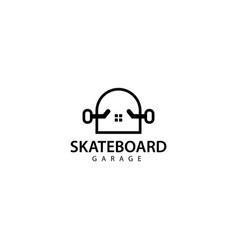 Skateboard garage logo design icon vector