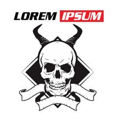 skull with horns hand drawingshirt designs biker vector image