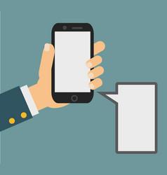 Smartphone in human hand vector