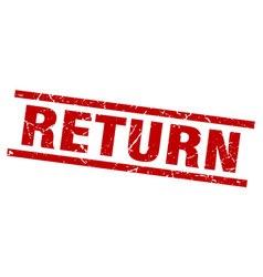 square grunge red return stamp vector image