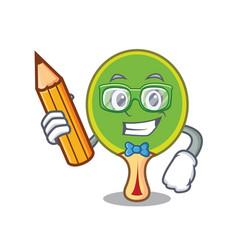 Student ping pong racket character cartoon vector