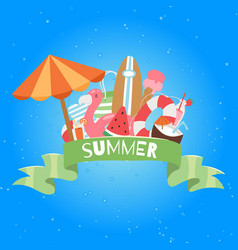 summer beach banner with umbrella cocos vector image