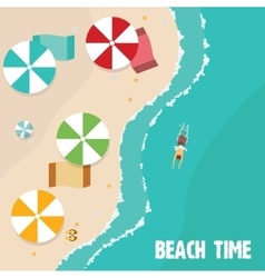 Summer beach in flat design aerial view sea side vector image