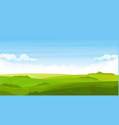Summer landscape with fields and green hills vector