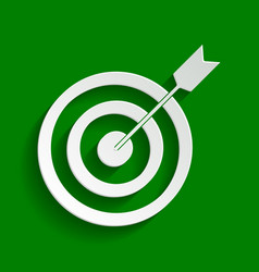 Target with dart paper whitish icon with vector