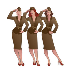 Three army girls in retro style wearing soldiers vector