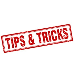 Tips tricks red square grunge stamp on white vector