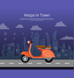 Vespa in town poster in flat style vector