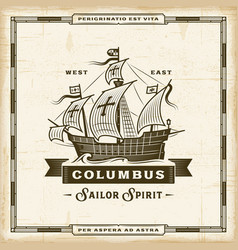 Vintage columbus label vector