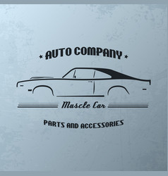 Vintage muscle car company logo design vector
