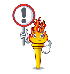 with sign torch character cartoon style vector image
