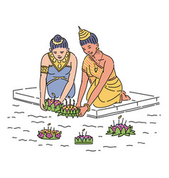 women floating a basket on loy krathong holiday vector image