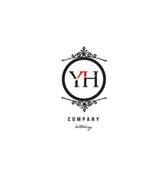 yh y h red white black decorative monogram vector image
