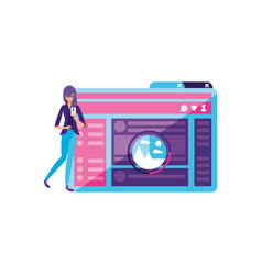 Young woman using smartphone with webpage template vector