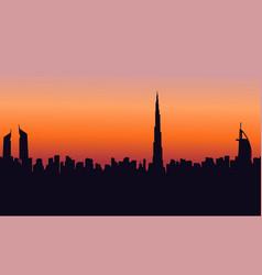 At sunset dubai scenery silhouettes vector